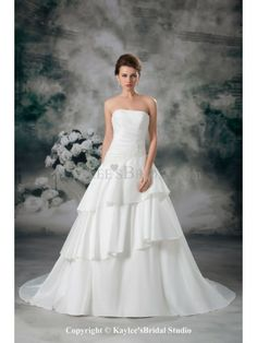 Satin Strapless Sweep Train A-line Embroidered Wedding Dress