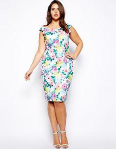 Lipstick Boutique Plus size Off The Shoulder Floral Print Pencil Dress