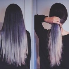 Black hair ombre into platinum blonde tips!! Heart it....