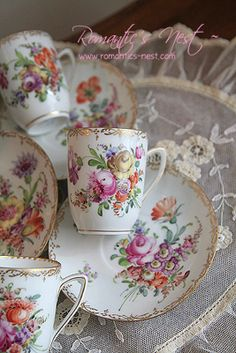 Delicate cup, saucer and plate with floral pattern. Vintage China, Vintage Tea, Teapots And Cups, Teacups, Dresden Porcelain, Cafetiere, China Tea Cups, My Cup Of Tea, China Patterns