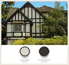 See the BEHR paint colors which most often are used on traditional Tudor-style homes in our gallery on Colorfully BEHR. Tudor Exterior Paint, Tudor House Exterior, Craftsman Exterior, Modern Farmhouse Exterior, Exterior Trim, Craftsman Style, Exterior Color Schemes, Exterior Paint Colors, Exterior House Colors