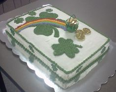 St. Patrick's Day cake I made in cake decorating class