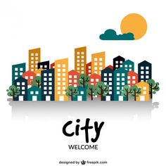 Welcome to the city I Free Vector