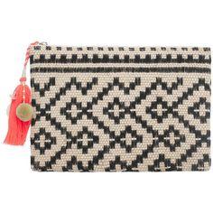 MANGO Jute Jacquard Clutch (710 CZK) ❤ liked on Polyvore featuring bags, handbags, clutches, mango handbags, jacquard handbags, jute handbags, mango purse and tassel handbag