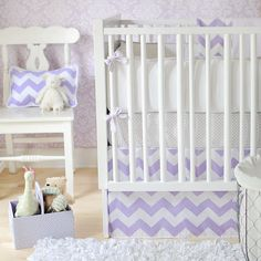 New Arrivals Zig Zag Baby Bedding in Lavender, Purple Chevron Baby Crib Bedding - 2 piece crib set for $168