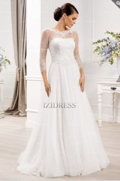 A-Line/Princess Scoop Court Train Lace wedding dress - IZIDRESSES.com at IZIDRESSES.com