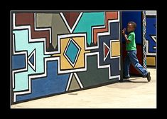 Ndebele wall painting- i dream about one wall in my home inspired by Ndebele designs!