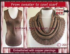 How to make a scarf from a sweater, how to decorate clothes with metal rings, the best way to make jump rings. Piercing-inspired clothing trend DIY.