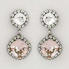 Haute Bride Jewelry. Double drop crystal earrings in clear & vintage rose. Vintage glamour for weddings & formal affairs. Other colors available.