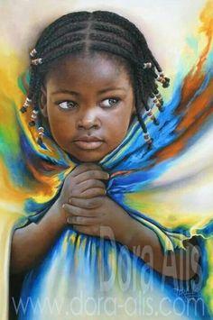 83 by Dora-Alis on DeviantArt Black Love Art, Black Girl Art, Art Girl, African Artwork, African Art Paintings, Portrait Art, Portraits, Arte Dope, Arte Black