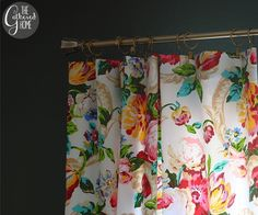 Stunning Floral Curtains With Pink Peonies Indigo Blue Bonsai