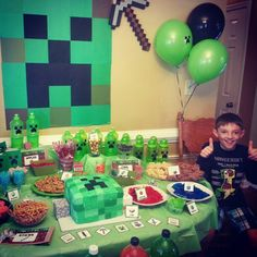 The goofy #Minecraftbirthday boy giving me two thumbs up :)