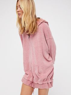 Pick Your Place Pullover | Super comfy hooded pullover featuring an oversized fit with a perfectly washed look and feel. Sporty front pocket detail and easy drawstring at the bottom ribbed band. Front half-zip closure.