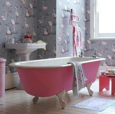 pink bathtub and flamingo wallpaper | everything LEB
