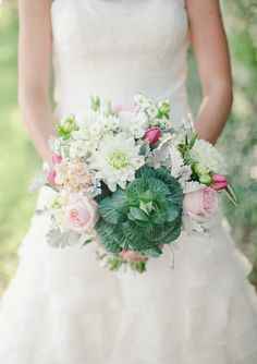A cabbage in a bouquet? It works whimsically. Caroline Joy Photography