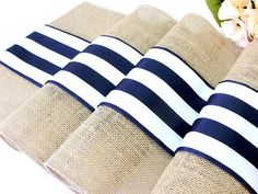 Burlap table runner Wedding Table Runner Navy Rustic wedding linens Navy and white French stripes Nautical Wedding décor , handmade