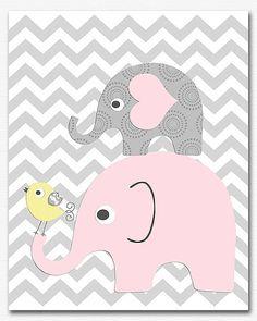 Rosa, gris y amarillo chica vivero arte imprimir niñas de - 8 x 10 - impresión del arte, arte de pared de bebé niña, chevron, pájaro, elefante, luz color de rosa, gris