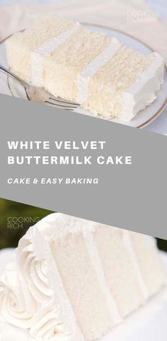 gets it's flavor and velvety texture from buttermilk. A moist, tender cake that is great for any special occasion. velvet cake gets it's flavor and velvety texture from buttermilk. A moist, tender cake that is great for any special occasion. Healthy Cake Recipes, Sweet Recipes, Baking Recipes, Dessert Recipes, Baking Desserts, Cake Baking, Healthy White Cake Recipe, White Buttermilk Cake Recipe, Snack Recipes