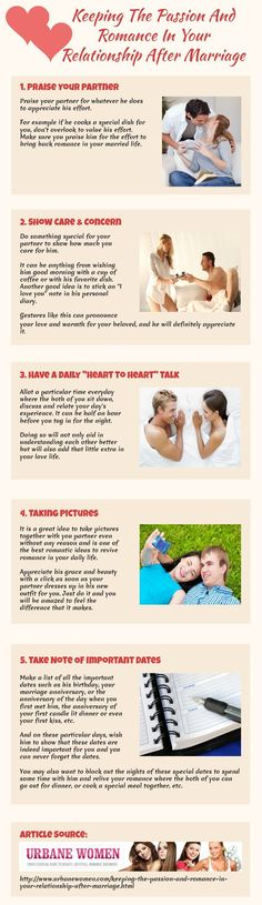 Psychology : Keeping The Passion And Romance In Your Relationship After Marriage [Infographic