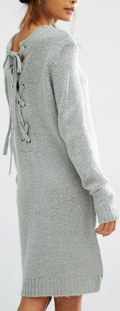 lace up back knit dress - looks cozy and casual! Autumn Rockers, Knit Dress, Lace Dress, Knit Fashion, Womens Fashion, Crochet Wool, Cooler Look, Knitting Designs, Knitting Patterns