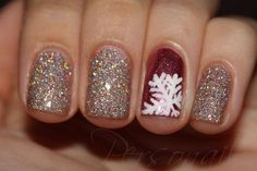 Love the red accent/snowflake nail - this is perfect for Christmas!