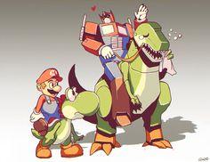 Optimus Mario and Yoshi Grimlock by GENZOMAN on deviantART