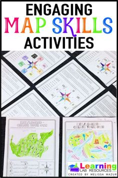 Geography Skills Let students have fun while learning about map skills with this interactive unit! Topics include cardinal directions, grids, scale, types of maps, and latitude and longitude. 3rd Grade Social Studies, Social Studies Classroom, Social Studies Activities, 4th Grade Classroom, Teaching Social Studies, Interactive Activities, Interactive Notebooks, Classroom Map, Primary Activities