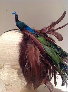 Peacock Fascinator- Bird Fascinator- Blue and Brown Headband- Feather headpiece- Handmade USA- Headdress