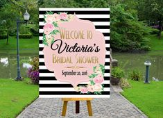 PRINTABLE Welcome Bridal Shower Poster, Welcome Poster, Rustic Wedding Printable, Black and White Striped Wedding