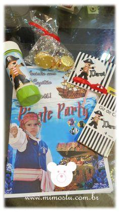 Kit de lembrancinhas personalizadas tema piratas.