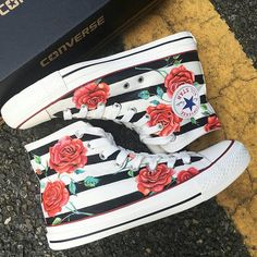 Check out this item in my Etsy shop https://www.etsy.com/listing/567485415/custom-painted-red-roses-converse-custom