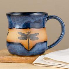 Dragonfly Silhouette Pottery Mug
