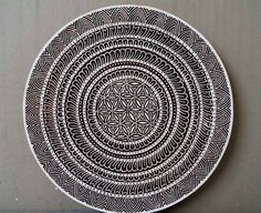 Beautiful giant flower of life mandala circle stamp crystal grid finely carved traditional Indian Henna carved wood block