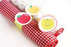 DIY feliz de Apple para imprimir Servilleteros para Niños