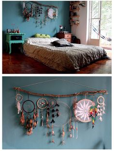 Dream catcher decor over bed or headboard , bohemian hype bedroom