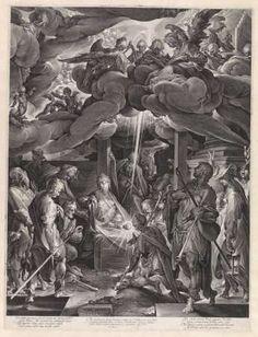 Aanbidding door de herders, Jan Harmensz. Muller, naar Bartholomeus Spranger, 1606 - Rijksmuseum