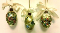 29.95 Waterford Glass Christmas Ornaments Mini Majestic Eggs Holiday Heirlooms Poland