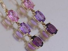 E100 Genuine 9K Gold Natural Amethyst Rhodolite Tourmaline Drop Earrings journey