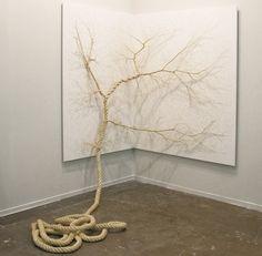 Cuerdas desenrolladas que parecen raíces y árboles