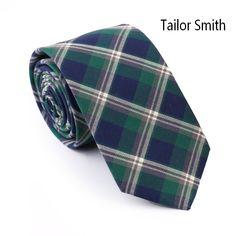Tailor Smith Top Quality 100% Cotton Plaid Necktie Mens Casual Party Check Slim Ties Tartan Cravat Handmade Neckwear Accessories