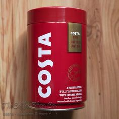 costa-coffee-ground-coffee-250g-tin Coffee Tin, Vintage Coffee, Costa Coffee, Ground Coffee, Canning, Tins, Create, Food, Vintage Cafe