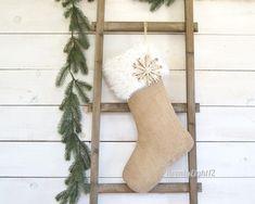 Burlap Christmas Stocking Christmas Stockings Pet Stocking | Etsy Plaid Stockings, White Christmas Stockings, Kids Stockings, Ring Bearer Pillows, Personalized Stockings, Snowflake Designs, Fabric Samples, Printing On Fabric, Faux Fur