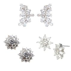 Fallon Crystal Cluster Earrings $225 at Moda Operandi  CZ by KENNETH JAY LANE Earrings $157 at Yoox  Nina 'Ivette' Floral Stud Earrings $58 at Nordstrom