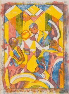 """Fox Trot II"" 1930 Lill Tschudi Linocut 11 1/4 x 8 1/2 inches  Edition of 50"