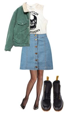 """""""When I'm feeling tired She pushed food through the door And I crawl towards the crack of light Sometimes I can't find my way"""" by jewia-hillsss ❤ liked on Polyvore featuring GUESS by Marciano, Boohoo and Dr. Martens"""