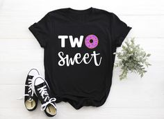 "Kid's ""Two Sweet"" Birthday T-Shirt Donut Tee Design, 2nd Birthday, Colorful Shirts, Tees, Cotton, T Shirt, Clothes, Fashion, Supreme T Shirt"