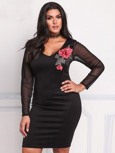 83d529976f4e Black Plus Size Dress V Neck Long Sleeve Peony Embroidered Bodycon Dress  For Women Embroidery Dress