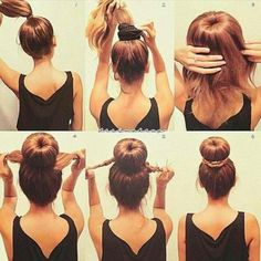 Sock Bun Tutorial: This is much easier than trying to roll the hair down with the sock ring. It is well suited for medium-length layered hair and for wet hair. However, I skip step 1 and just pull all my hair through the sock ring, then I add the hair tie Pretty Hairstyles, Easy Hairstyles, Hairstyles 2018, Updo Hairstyle, Donut Hairstyle, Hairstyle Ideas, Wedding Hairstyles, Teenage Hairstyles, Quinceanera Hairstyles