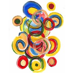 """""""Hula hoop"""" Move your body in circles!  Abstract now available at GreenMonbrushstrokes.etsy.com"""