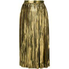 Mes Demoiselles lurex pleat skirt ($381) ❤ liked on Polyvore featuring skirts, metallic, knee length pleated skirt, pleated skirt, metallic skirt, brown pleated skirt and brown skirt